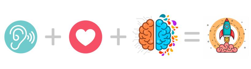 icons representing ear + heart + brain = rocketship liftoff